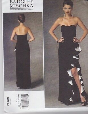 VOGUE SEWING PATTERN Misses\' Badgley Mischka Evening Dress Sizes 6 ...