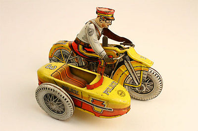 Vintage 1950s Marx Police Motorcycle with Sidecar & Siren Tin Windup Toy