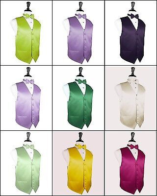 Men's Solid Satin Tuxedo Vest, Bow-Tie set. Formal, Dress, Wedding, Prom