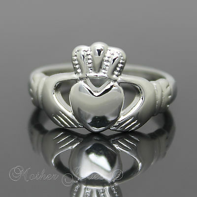 Silver Highly Polished Stainless Steel Claddagh Engagement Wedding Unisex Ring