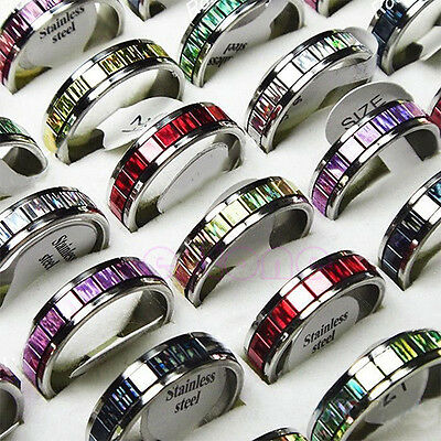 Hot 10pcs Wholesale Charismatic jewelry lots Stainless Steel Mix-Color Rings