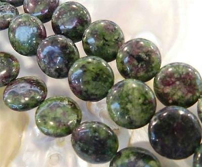 """12mm Red Green Ruby Zoisite Coin-shaped Gems Loose Beads 15"""" Strand"""