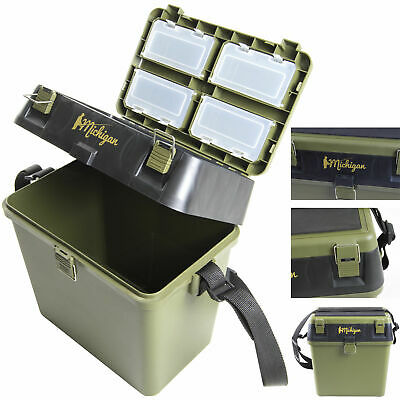 Heavy Duty Fishing Tackle Seat Box With Padded Strap & Seat Pad By Michigan