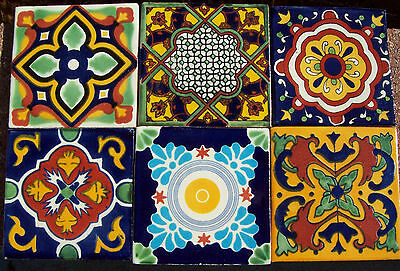 """6~MEXICAN TALAVERA POTTERY 4"""" tile Hand Painted Hand made + Venice Italy CD"""