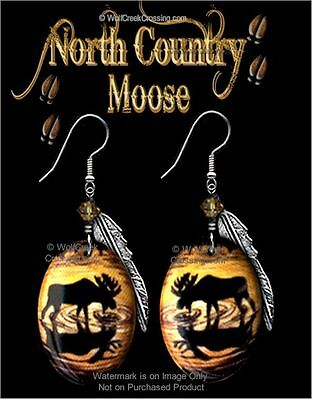North Country Moose Earrings - Wildlife Art - Nature Jewelry Gift Free Ship #hk*