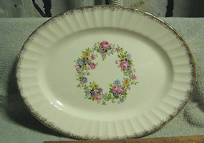 VINTAGE EDWIN M. KNOWLES BLUE PINK ROSES SERVING PLATTER