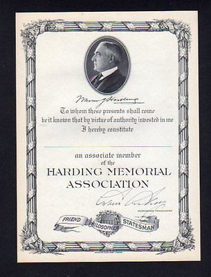 Warren Harding Memorial Association Member Certificate