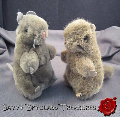 2 Vintage W. Germany Hermann Plush Stuffed Toys Rodents Mice? Beavers Squirrels?