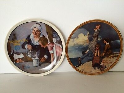 Edwin M Knowles China - Norman Rockwell (14669B) & Mothers Day (9765E)