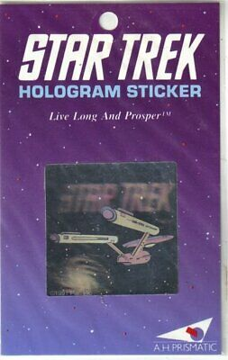 Classic Star Trek Enterprise and Name Hologram Sticker 1991 A H Prismatic SEALED