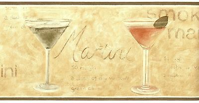 5510861 Dry Martini Glass Green Red Kitchen Bar Wallpaper Border