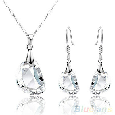 New Fashion Womens Bling Crystal White Gold Plated Necklace Earrings Jewelry Set