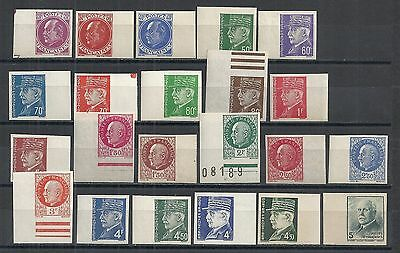 France stamps 1941 YV 505-524 Imperforated Marginstamps  PETAIN  MNH  VF