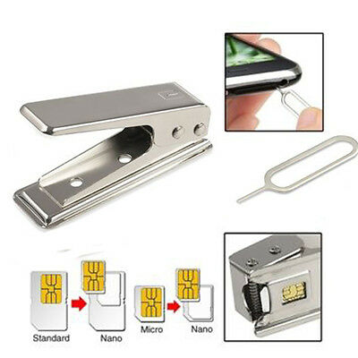Standard Micro To Nano SIM Card Metal Cutter and 2 Adapters For iPhone5 5S New