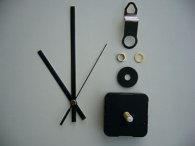 CLOCK MECHANISM QUARTZ EXTRA LONG SWEEP SPINDLE. 130mm BLACK BATON HANDS