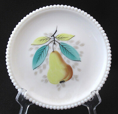 Mid Century Westmoreland Milk Glass Beaded Edge Hand Painted Fruit Plate Pear