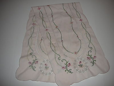 Cross Stitch  with Crocheted Inserts Cotton Table Runner Floral and Lace