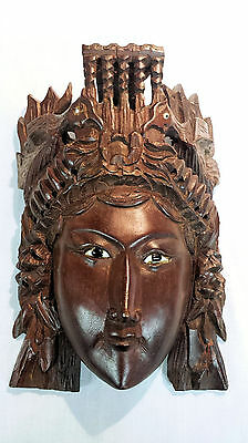 Chinese Rosewood Hand Carved Mask of Empress w/ birds and Inlaid Eyes