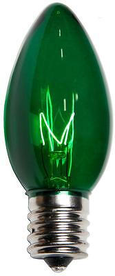 Box of 25 C9 Green Triple Dipped Transparent Indoor/Outdoor Christmas Bulbs