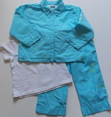 3 piece 3y MARESE girls french designer blue & white trousers, top jacket outfit