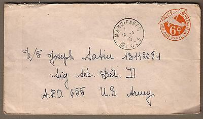 Apr 1945 WWII cover Mangiennes Meuse France on US 6 ct airmail to APO 655 Sig