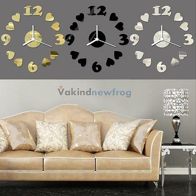 V1NF Unique DIY 3D Mirror Sticker Acrylic Wall Decal Clock Removable Home Decor