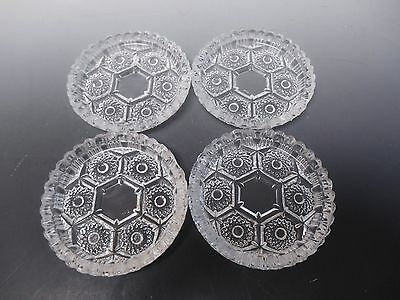 """Pressed Glass Ashtrays Set of 4 Made in Italy Starburst Jagged Teeth 4 1/2"""" Wide"""