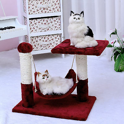 Pet Cat Scratching Tree Furniture Kitten Condo Poles Gym Bed Toys Red 38cm