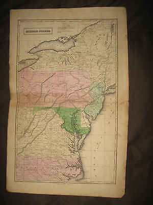 Antique 1837 New York Jersey Maryland Delaware Virginia Pennsylvania Handclr Map