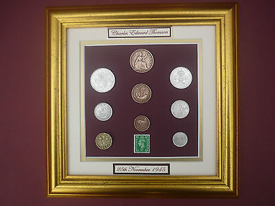 PERSONALISED FRAMED 1945 COIN SET 71st  BIRTHDAY / ANNIVERSARY GIFT IN 2016