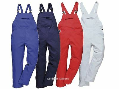 Portwest Burnley Bib & Brace Trousers Dungarees Rear Patch Pocket Workwear C875