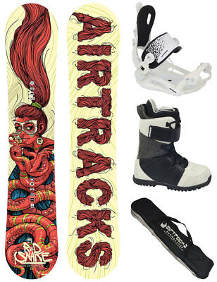 Damen Snowboard Set AIRTRACKS Red Snake Carbon Rocker+Bindung+Boots+Bag/ 151 156