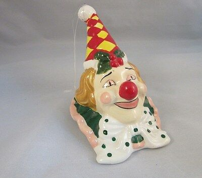 Vtg hand painted ceramic clown face Christmas tree ornament bell
