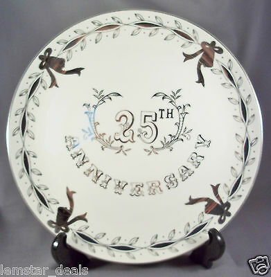 "Lefton 25th Anniversary 10 1/4"" Hand-Painted Plate #3697 Great Collectors Piece"