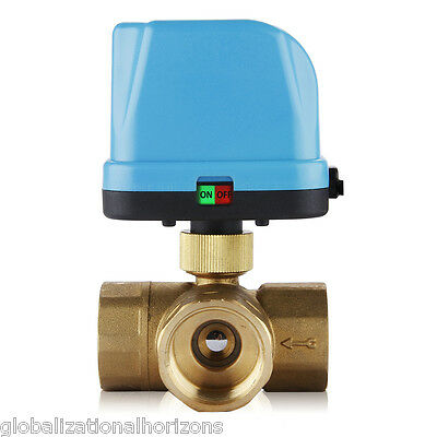 """New DN25 G1.0"""" 3 Way AC 220V Electric Brass Ball Motorized Valve with LED Light"""