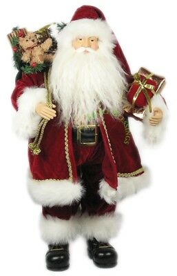 """24"""" Christmas Traditional Santa W/gold Trim And Gifts S02404"""