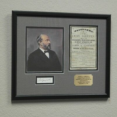 James Garfield 1881 Assassination Program Framed Display