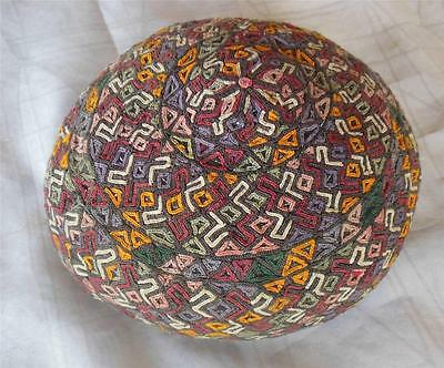 Vintage embroidered traditional Central Asian hat pillbox cap tubeteika 53 cm