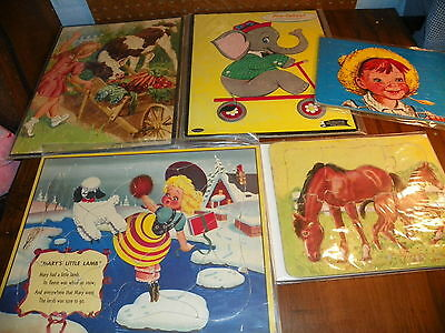 Vintage Lot of 5 Children's Jig Saw Puzzles - Inlaid Frame Tray