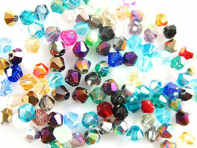 300Pcs Faceted Bicone Crystal Glass Beads Spacer Bracelet&Necklace Findings 4mm
