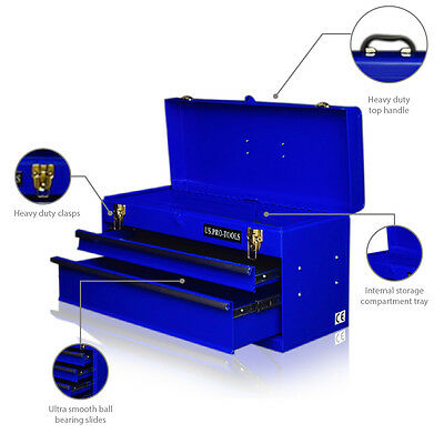 66 Us Pro Portable Mobile Steel Tool Chest Tool Box Cabinet Blue 2 Drawers
