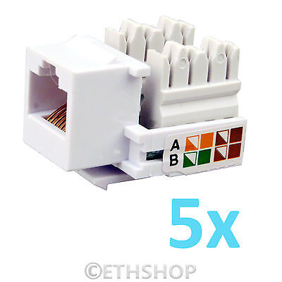 5x RJ45 Keystone Jack Wall End Plug Cat 5e Ethernet LAN Network Module Adapter