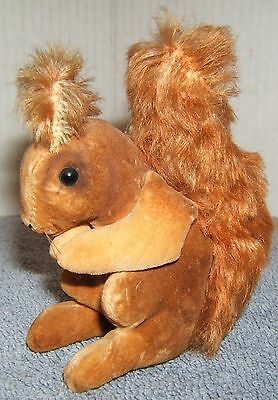 """Antique Miniature 4"""" Steiff Squirrel with Pewter Button in Ear and Glass Eyes"""