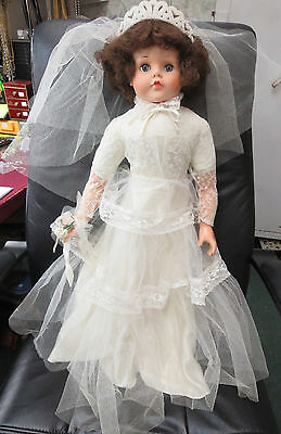 "1950 28"" Character Wedding Dress Doll Rubber Face Hard Plastic Limbs Soft Body"