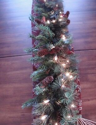 "Evergreen Lighted Garland Mixed Noble Pine 9' x 14"" Artificial High Quality Full"