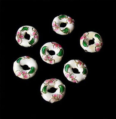 FLOWERS! Seven White CLOISONNE Pi CIRCLE Beads 8637A
