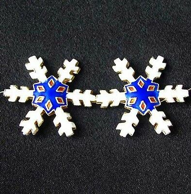 TWO Cobalt CLOISONNE Snowflake CENTERPIECE Beads 8638B