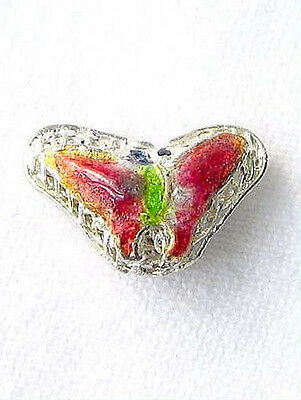 LIME & CHERRY! CLOISONNE Butterfly PENDANT Beads 8635B