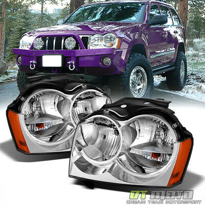 2005-2007 Jeep Grand Cherokee Replacement Headlights Headlamps Pair Left+Right