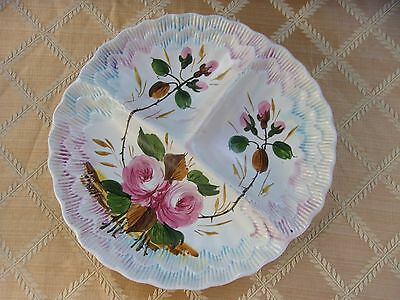 ITALIAN POTTERY Three Compartment Handpainted Floral Decorated Serving Plate
